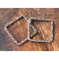 20x20mm Hammered Square Links, Antique Copper, Pack of 10
