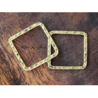 20x20mm Hammered Square Links, Antique Gold