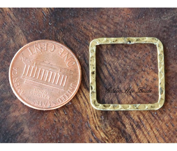 20x20mm Hammered Square Links, Antique Gold, Pack of 10