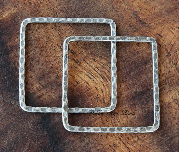 30x30mm Hammered Square Links, Antique Silver