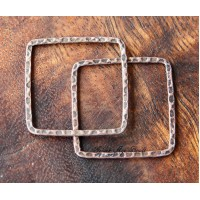 30x30mm Hammered Square Links, Antique Copper, Pack of 6