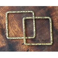 30x30mm Hammered Square Links, Antique Gold, Pack of 6