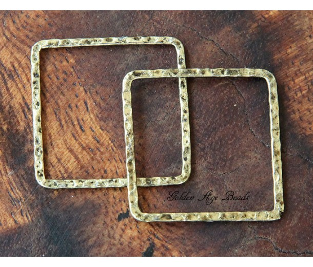 30x30mm Hammered Square Links, Antique Gold