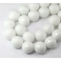 White Candy Jade Beads, 14mm Faceted Round