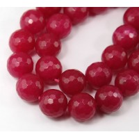 Fuchsia Candy Jade Beads, 14mm Faceted Round