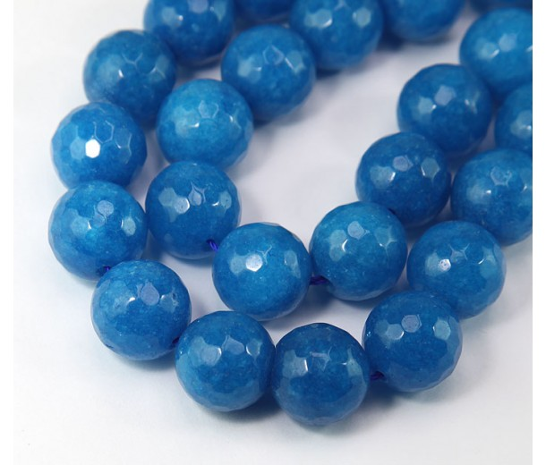Medium Blue Candy Jade Beads, 14mm Faceted Round