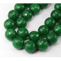 Forest Green Candy Jade Beads, 14mm Faceted Round