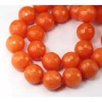 Orange Candy Jade Beads, 14mm Faceted Round
