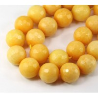 Sun Yellow Candy Jade Beads, 14mm Faceted Round