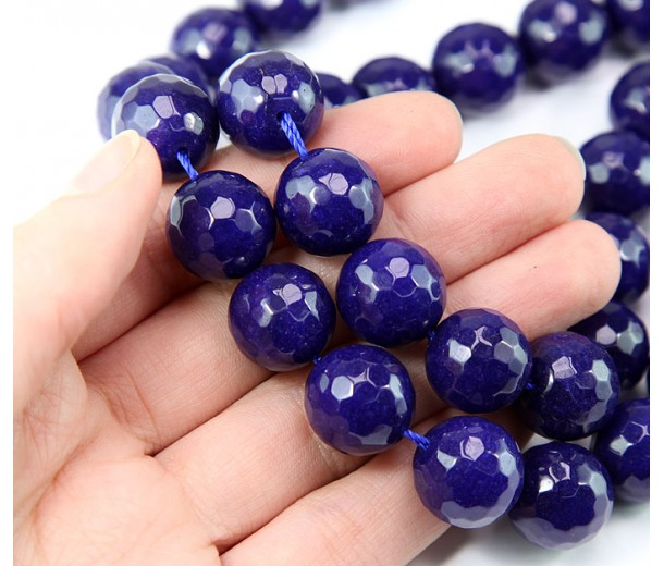 Cobalt Blue Candy Jade Beads, 14mm Faceted Round
