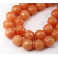 Peach Candy Jade Beads, 14mm Faceted Round