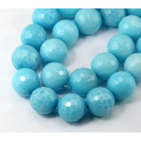 Sky Blue Candy Jade Beads, 14mm Faceted Round