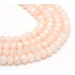Pastel Peach Candy Jade Beads, 8x5mm Faceted Rondelle