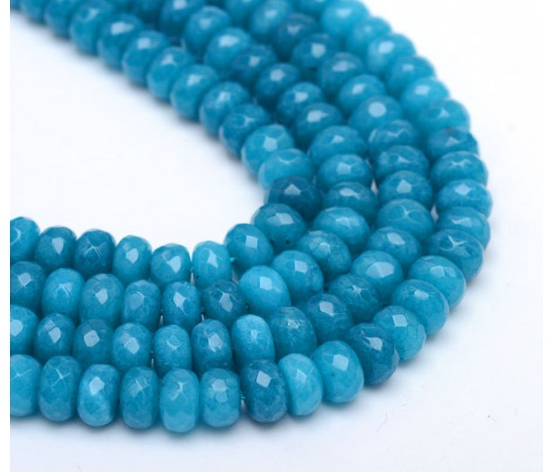 Denim Blue Candy Jade Beads, 8x5mm Faceted Rondelle