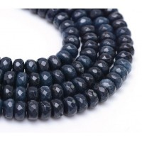 Midnight Blue Candy Jade Beads, 8x5mm Faceted Rondelle