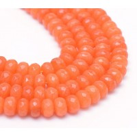 Red Orange Candy Jade Beads, 8x5mm Faceted Rondelle