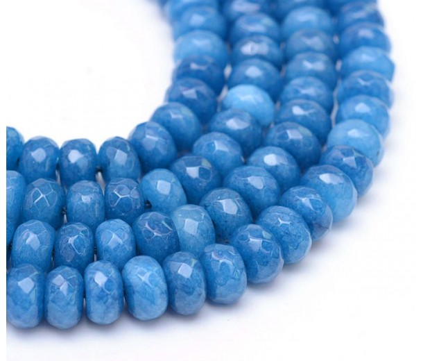 Medium Blue Candy Jade Beads, 8x5mm Faceted Rondelle