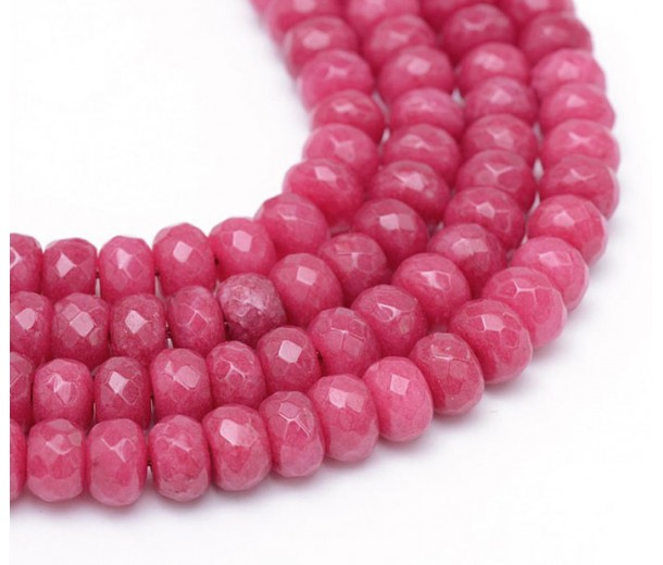 Berry Pink Candy Jade Beads, 8x5mm Faceted Rondelle