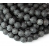 Charcoal Grey Matte Jade Beads, 8mm Round