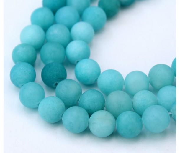 Light Teal Blue Matte Jade Beads, 8mm Round