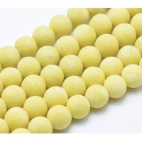 Pastel Yellow Matte Jade Beads, 10mm Round
