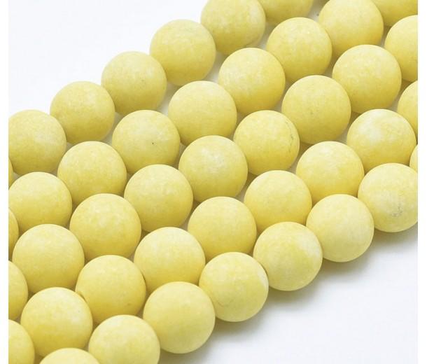 Pastel Yellow Matte Jade Beads, 10mm Round
