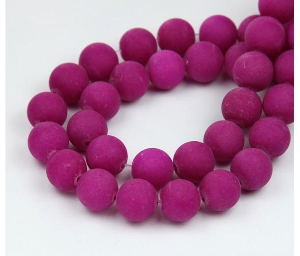 Fuchsia Matte Jade Beads, 10mm Round