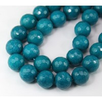 Blue Teal Candy Jade Beads, 12mm Faceted Round