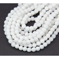 -White Candy Jade Beads, 4mm Faceted Round