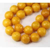 Honey Yellow Candy Jade Beads, 12mm Faceted Round