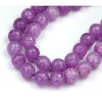 Light Plum Purple Candy Jade Beads, 10mm Faceted Round