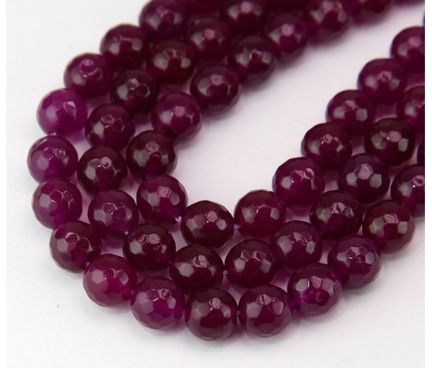 Magenta Candy Jade Beads, 8mm Faceted Round