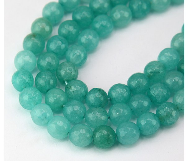 Caribbean Teal Candy Jade Beads, 8mm Faceted Round