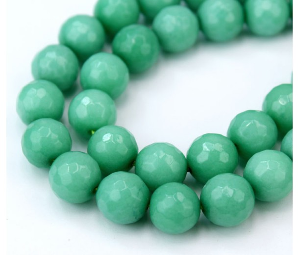 Sea Green Candy Jade Beads, 12mm Faceted Round