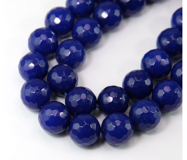 Cobalt Blue Candy Jade Beads, 12mm Faceted Round