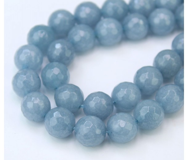Misty Blue Grey Candy Jade Beads, 10mm Faceted Round
