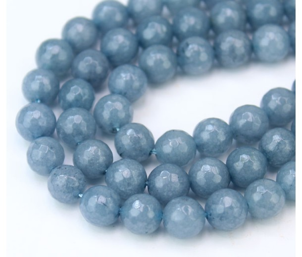 Misty Blue Grey Candy Jade Beads, 8mm Faceted Round