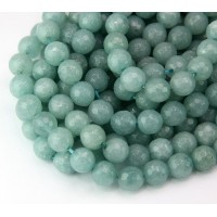 Light Blue Grey Candy Jade Beads, 8mm Faceted Round