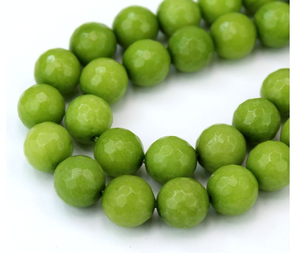 Dark Apple Green Candy Jade Beads, 12mm Faceted Round