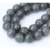 Mouse Grey Candy Jade Beads, 10mm Faceted Round