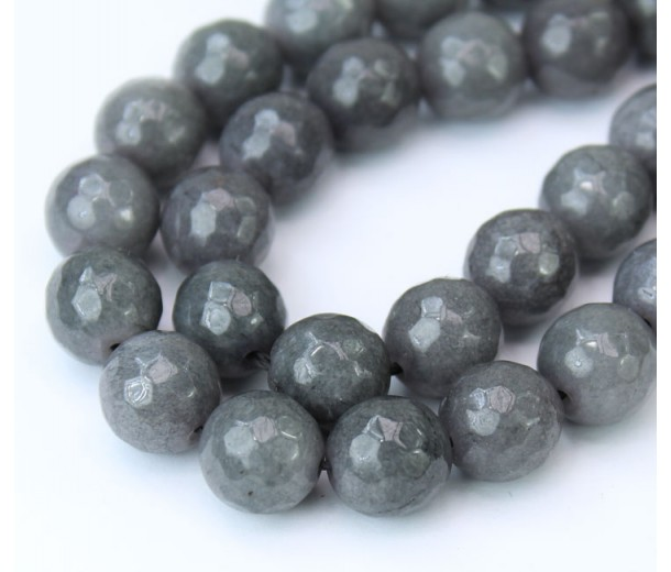 Medium Grey Candy Jade Beads, 10mm Faceted Round