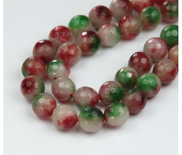 Green, White and Red Jade Beads, 10mm Faceted Round