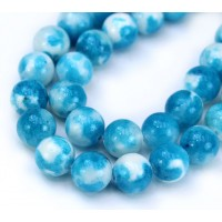 Sky Blue and White Multicolor Jade Beads, 10mm Round