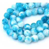 Sky Blue and White Multicolor Jade Beads, 6mm Round