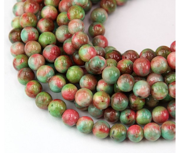 Sea Green and Coral Multicolor Jade Beads, 6mm Round