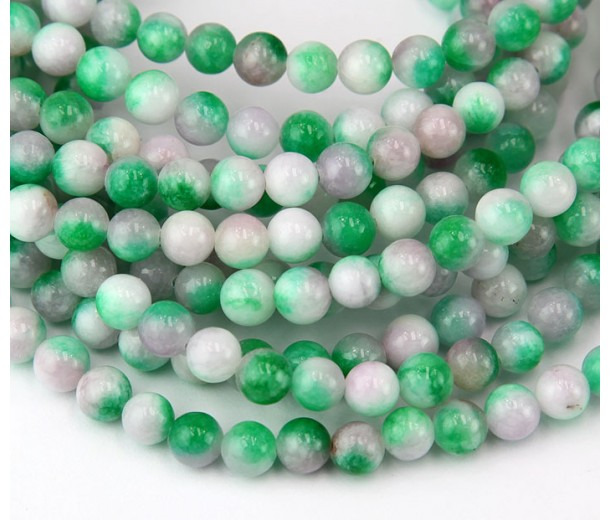 Green and White Multicolor Jade Beads, 6mm Round