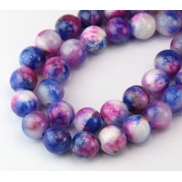 Blue and Magenta Multicolor Jade Beads, 10mm Round