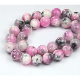 White, Pink and Grey Multicolor Jade Beads, 10mm Round