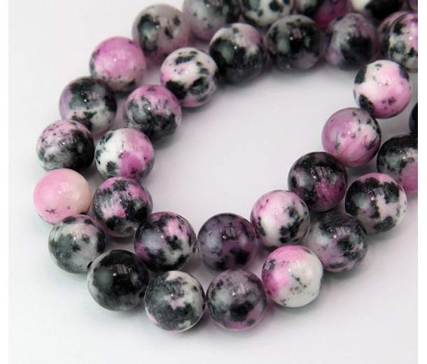 Black and Pink Multicolor Jade Beads, 10mm Round