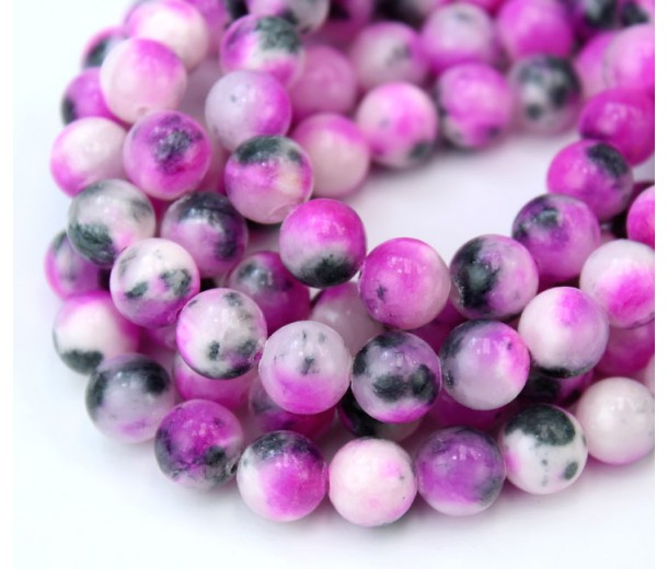 Pink and Grey Multicolor Jade Beads, 8mm Round
